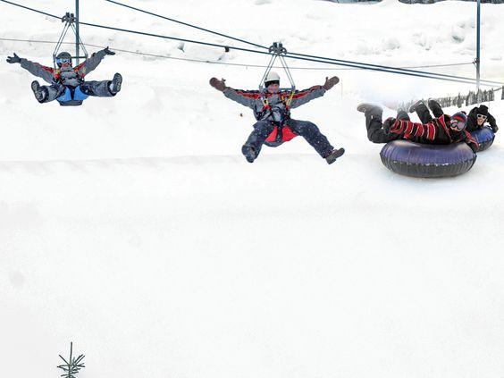 Schweitzer Mountain Resort winter ziplining.  visitidaho.org #schweitzer #sandpoint #zipline #idaho