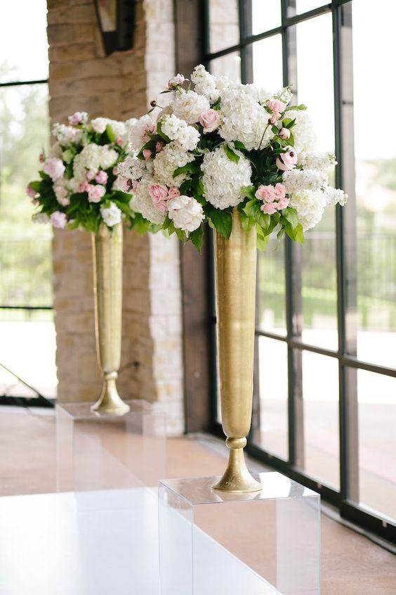 Glamorous Wedding Wedding Ceremonies And Gold Vases On Pinterest
