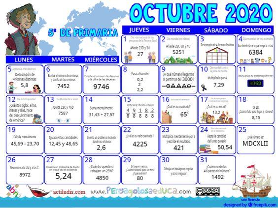 Calendario Quinto ABN – Octubre 2020