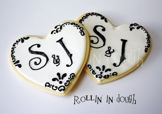 Wedding Cookies; Monogram Cookies