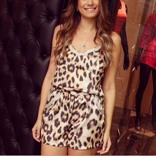 Find More Jumpsuits & Rompers Information about leopard chiffon stylish summer ladies sexy jumpsuits V neck printing wholesale shipping YY019,High Quality neck fit,China neck rash Suppliers, Cheap neck badge from Perfect `Queen on Aliexpress.com
