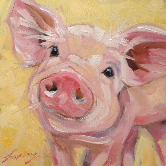 Custom Order Pig Painting Reserved For Robyn Pigs Cute