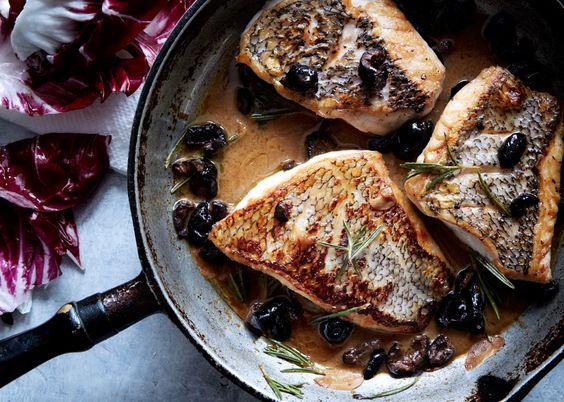 Black Bass with Warm Rosemary-Olive Vinaigrette http://www.bonappetit.com/recipes/slideshow/fast-easy-weeknight-dinner-recipes-ideas#2