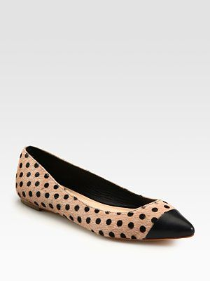 @Loeffler Randall Natalie Polka-Dot Calf Hair and Leather Point Toe Ballet Flats