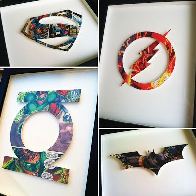 Superhero Icons! each symbol is hand-cut from a single comic book page, mounted on acid-free foam core, and float mounted on board.