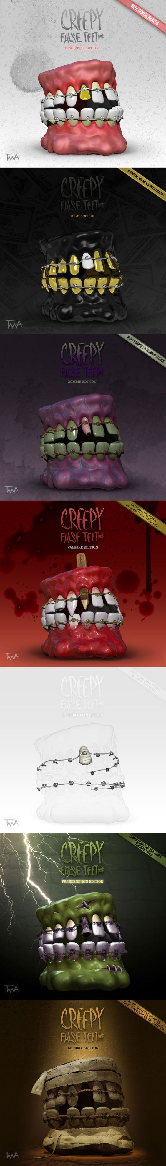 Creepy False Teeth with dental braces