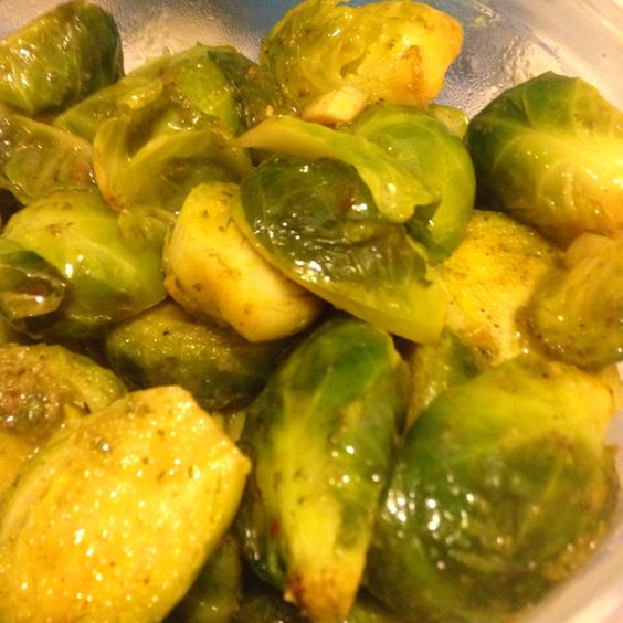 My brussel sprouts baked in homemade parsley pesto.  I should try them cooked in basil pesto for a real kick.
