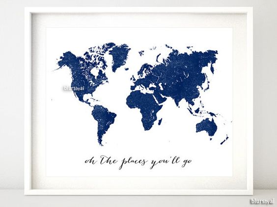 """Navy printable world map, distressed vintage texture map print, navy nursery deep blue wall art, oh the places you'll go 10x8"""" 20x16"""" map133 on Etsy, $4.90"""