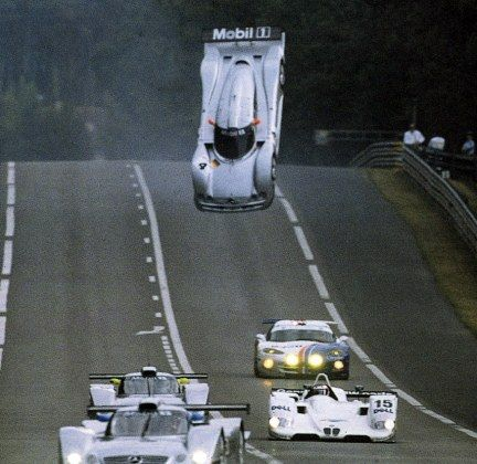 Perhaps one of the most iconic images of all time as the Mercedes CLR of Mark Webber flips at Le Mans in 1999