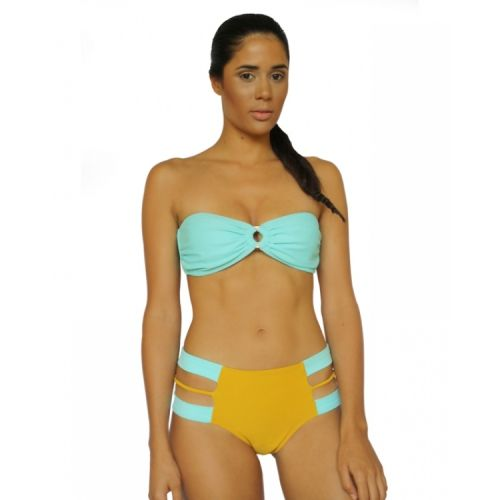 Aqua Shell Hoop Bandeau and Mustard Mermaid Cutoff Bottom - Ao de clo | Swimwear