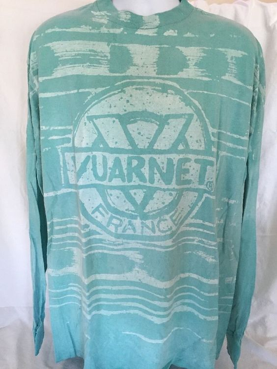 Vuarnet France Shirt Long Sleeve Tshirt XL Vintage 1980 1990 Aqua White USA Made #Vuarnet #BasicTee