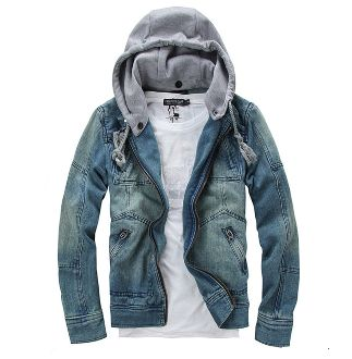 Men's Denim Jacket with Removable Hood | Pinterest for Men ...