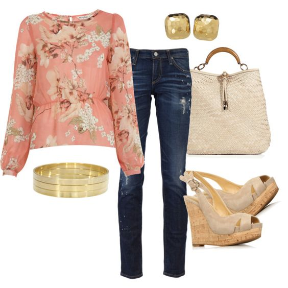 Something fun for spring    #spring #wedges #floral #outfits