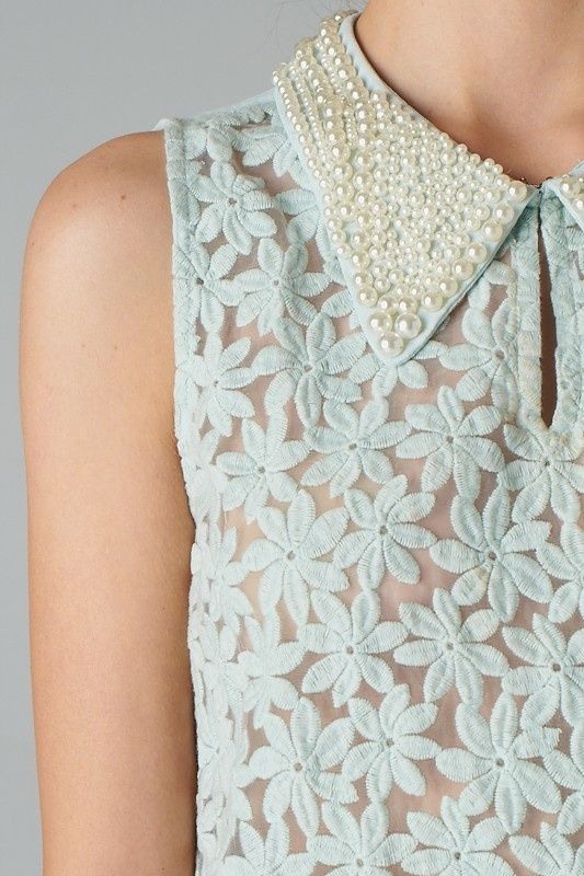 collar studded with pearls, light blue sheer blouse with romantic floral pattern