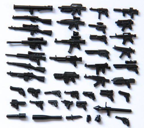 Custom Weapons – 43 pc Lot – Black (for minifigs)