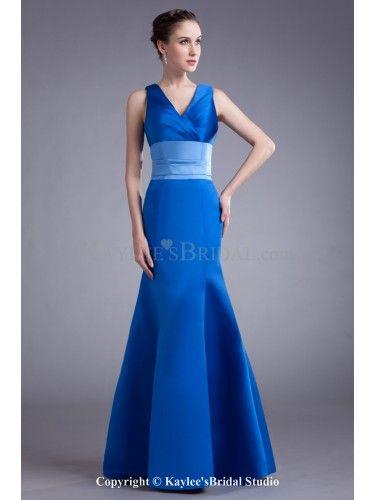 Satin V-neck Floor Length Mermaid Prom Dress