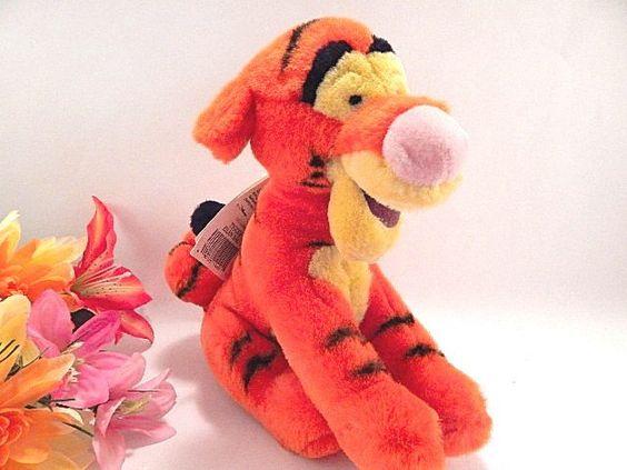 "Tigger 9""  Plush Stuffed Animal  Bean Bag Orange Tiger Walt Disney World Souvenir Toy with Hang Tag Collectible Disneyana"