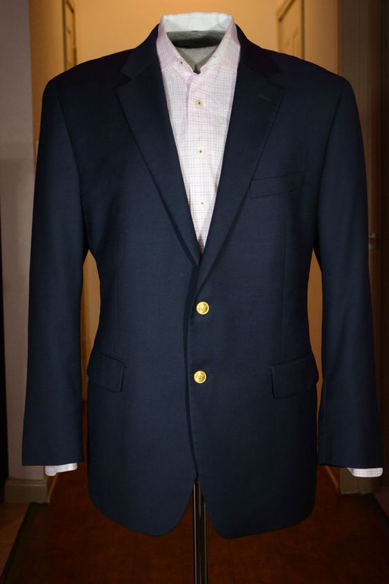 Lauren Ralph Lauren Mens Sport Coat Gold Buttons Navy Blazer