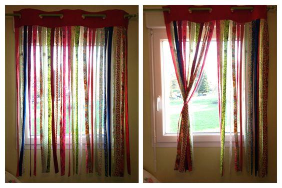 Des rideaux faits à partir de multiples tissus différents et un bandeau avec oeillets insérés. Pour une déco très bohême dans la chambre de ma fille.