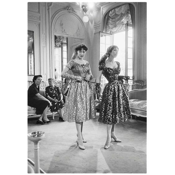 Mark Shaw Editioned Photograph-House of Dior-Models in Metallic Dresses, 1953 | From a unique collection of antique and modern photography at http://www.1stdibs.com/furniture/wall-decorations/photography/