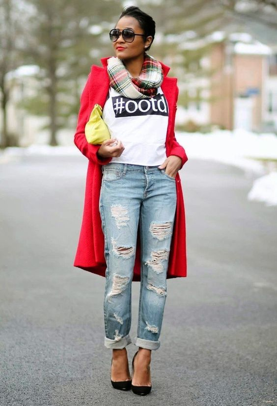 Red Coat with Ripped Jeans for 2015: