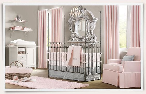 this pink and gray nursery is amazing