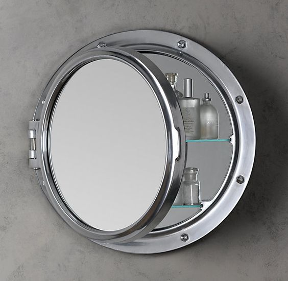 Royal Naval Porthole Mirrored Medicine Cabinet via resto - love the design, so fun!!  would be amaaazing in brass :)