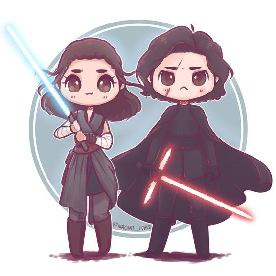 """""""Drew a grumpy Kylo to go with my Rey drawing (swipe for the just Kylo version) ✨✨ I love the lil…"""""""