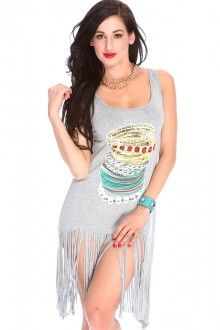 Grey Accessories Print Sleeveless Casual Dress $19.99