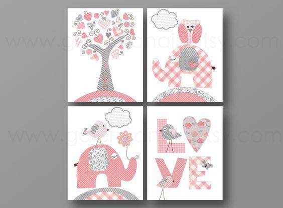 lot de 4 illustrations pour chambre denfant et bebe gris rose - Chambre Bebe Gris Et Rose