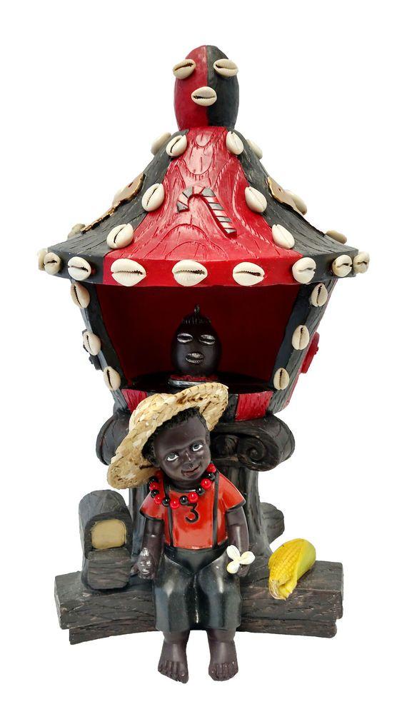 "15"" House of Elegua Casa Statue Santeria Siete Potencias African God Orisha"