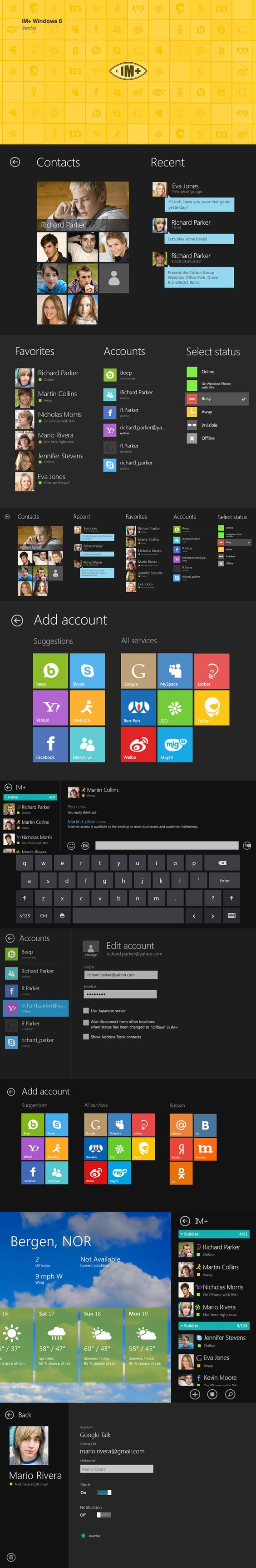 Sketches for IM+ Windows 8 via Behance