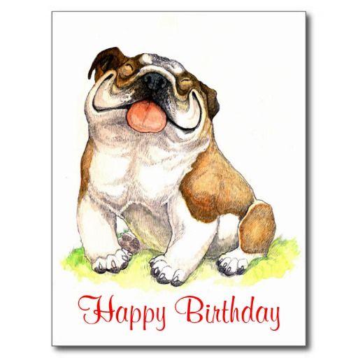 Happy Birthday Bulldog Puppy  Greeting Postcard