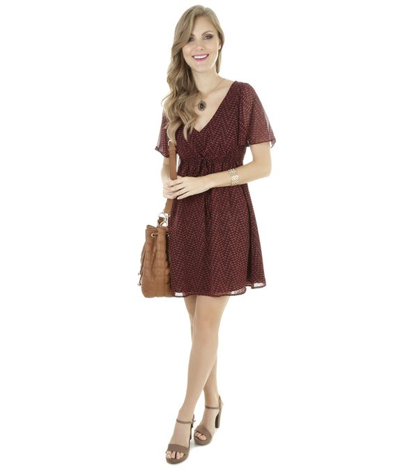 Vestido com Estampa Geométrica Vinho - cea