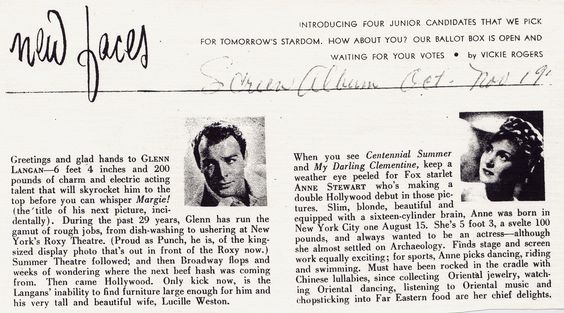 "Anne Stewart's introduction to Hollywood in the movie fanzine, ""Screen Album""."