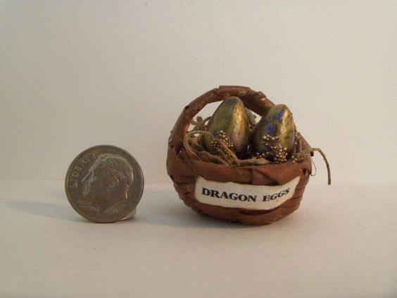 Miniature Artisan OOAK  DRAGON EGG BASKET witch wizard game of thrones inspired #handmademiniature