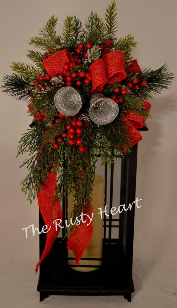 Christmas lantern swag with red burlap ribbon lanterns for Decorating with burlap ribbon for christmas