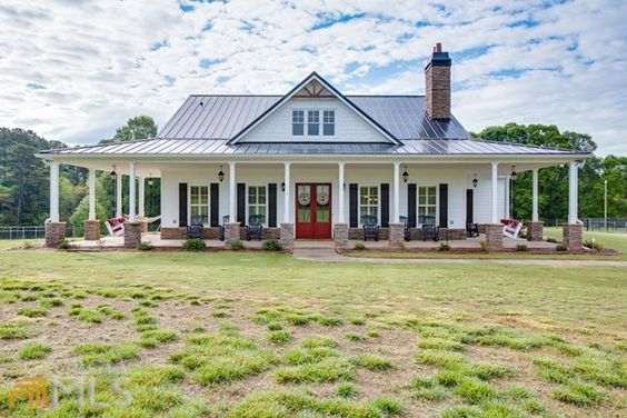 Porches farmhouse and plantation shutter on pinterest for Barn house plans with porches