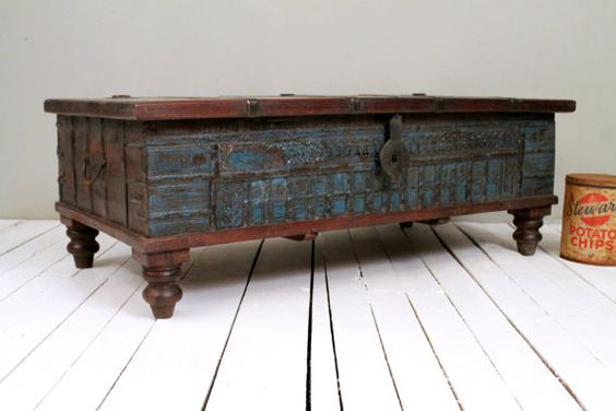 Reclaimed trunk coffee table antique indian turquoise blue wood iron and brass storage wedding Indian trunk coffee table
