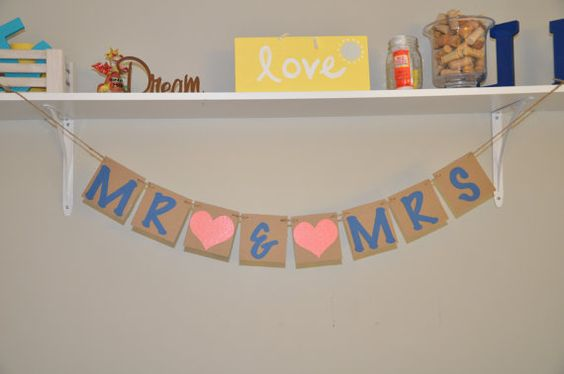 Mr and Mrs Banner  Coral and Teal by JKreations2013 on Etsy, $15.50