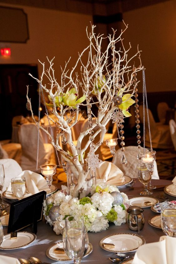 Manzanita trees with orchids crystals and hanging votives