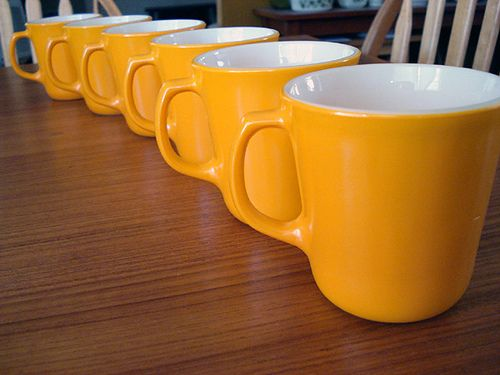 orange pyrex mugs