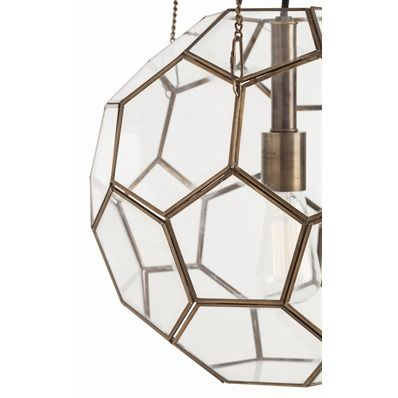 The Beck Pendant's geometric glass shapes are faceted with bronze, creating unexpected dimension.