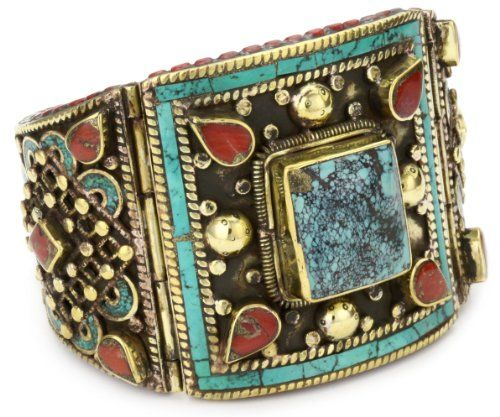 Devon Leigh Turquoise And Coral Antiqued Brass Cuff