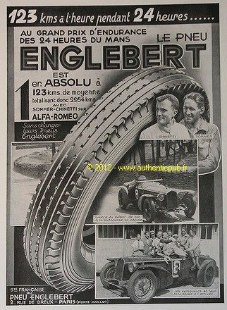 publicite pneu englebert grand prix les 24 heures du mans de 1932 french ad pub 24 heures du. Black Bedroom Furniture Sets. Home Design Ideas