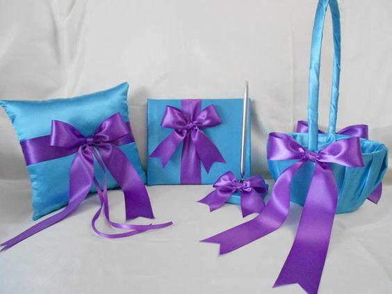 Aqua blue and purple bouquets   Wedding Turquoise Purple Flower Girl Basket Ring Pillow Guest Book Pen ...