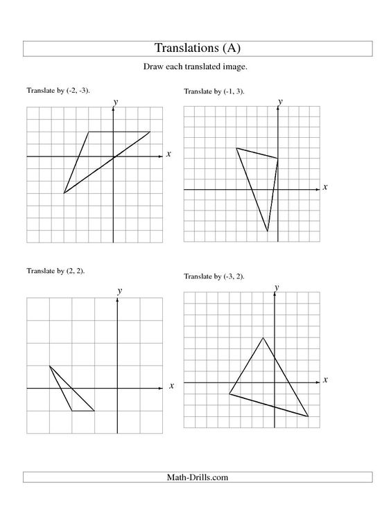 Transformations using coordinates – Translation Math Worksheets