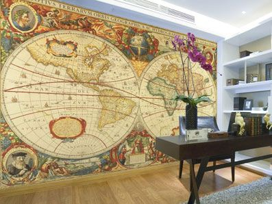 Old world map wall mural by henricus hondius circa 1630 old world maps pi - Planisphere mural geant ...