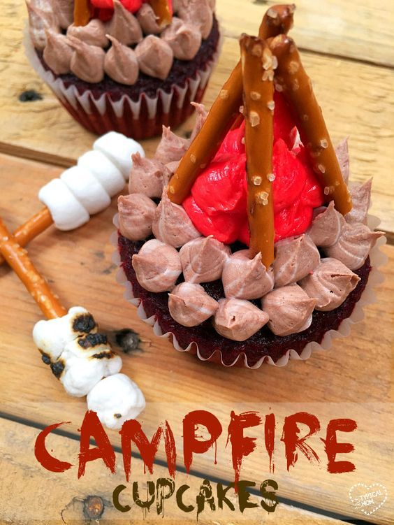These are perfect for a camping birthday party and so easy to make!! Check out these campfire cupcakes.