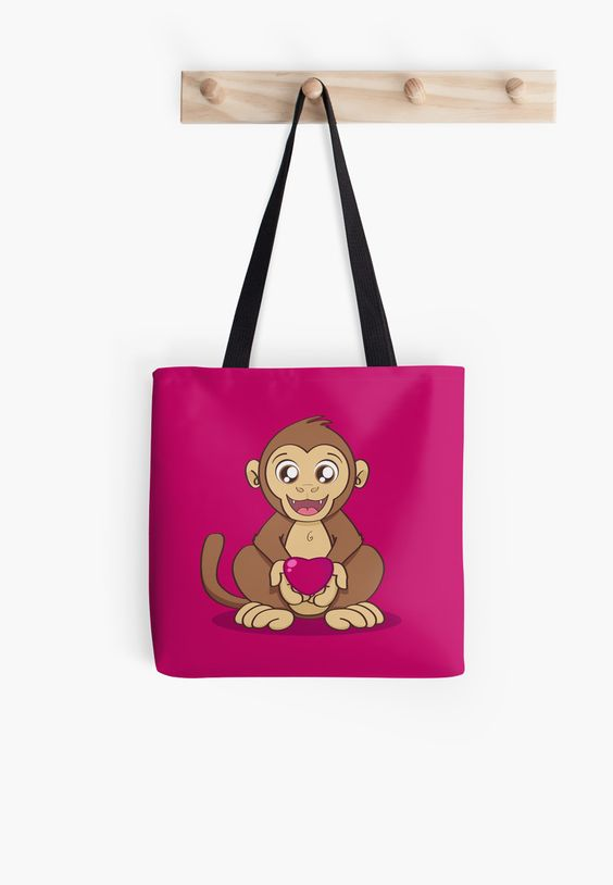 """Monkey Love"" Tote Bag by Savousepate on Redbubble #totebag #bag #monkey #ape #love #heart #valentinesday #cute #kawaii #pink #magenta #fushia #brown"